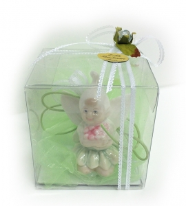 Bomboniera Gnomo Ceramica Nastro Verde E Scatola Trasparente Battesimo