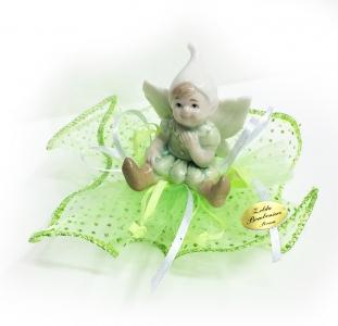 Bomboniera Gnomo In Ceramica Tulle A Pois Verde Glitterato