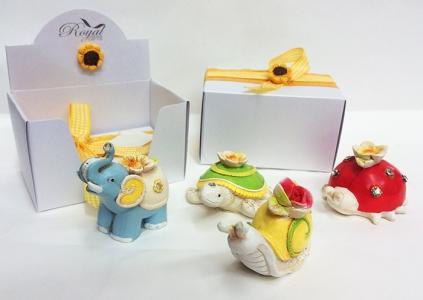 Bomboniera Animali In Resina Assortiti 4 Modelli Con Scatolina