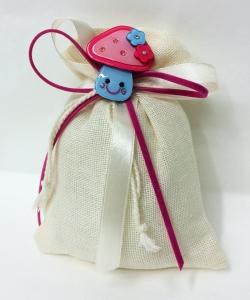 Bomboniera Sacchetto Panna Cotone Bottone Fungo Blu