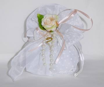 Bomboniera Sacchetto Raso A Pois Bianco Fiocco Perle Rosa Artificiale