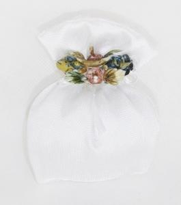 Bomboniera Sacchetto Bianco Lucido Con Decorazione In Ceramica