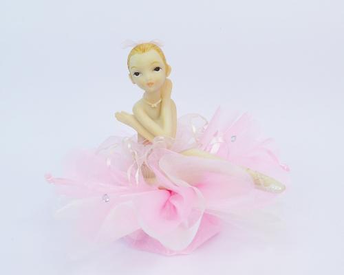 Bomboniere Ballerina Tulle Rosa 10 cm Comunione Cresima
