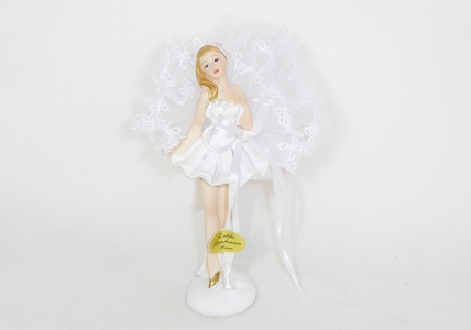 Bomboniera Ballerina In Piedi Bianca Con Base