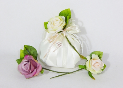 Bomboniera Sacchetto Raso Con Fiore
