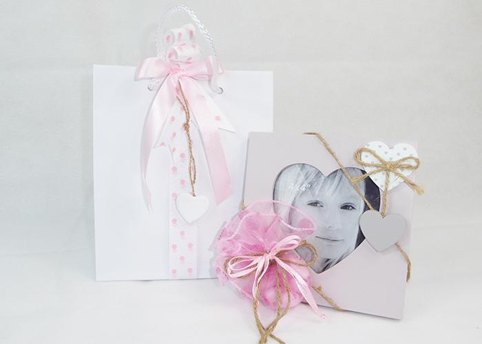 Bomboniera Quadro Rosa Con Cuore Battesimo/nascite Bimba