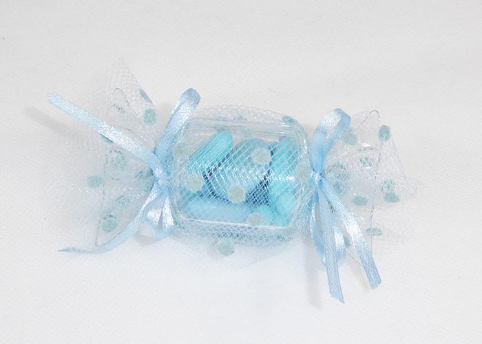 Bomboniera Caramella Plexiglass Con Tulle Pois Celeste