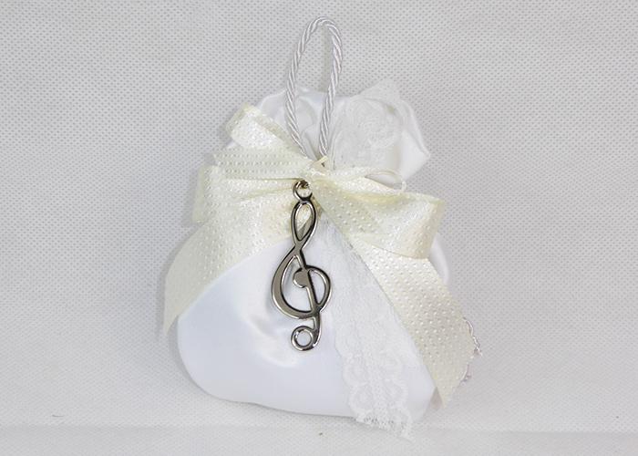 Bomboniera Sacchetto In Raso Bianco Ciondolo Chiave Violino