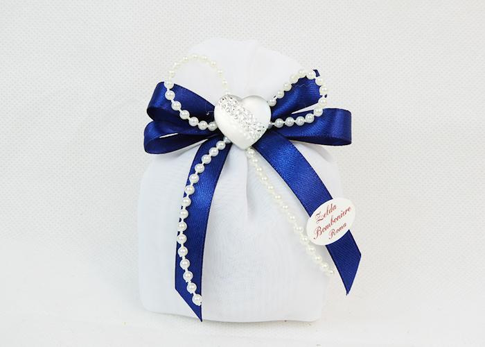 Bomboniera Sacchetto Bianco Cuore Opaco Strass Matrimonio Wedding