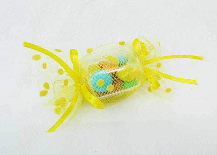 Bomboniera Caramella Plexiglass 10x4 Cm Tulle Rete Pois Giallo