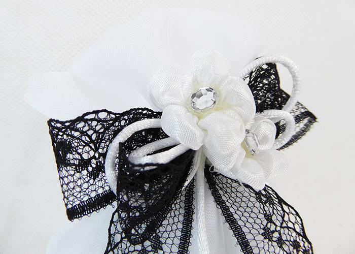 Bomboniera Sacchetto Organza Bianco B/W Fiori Strass Wedding