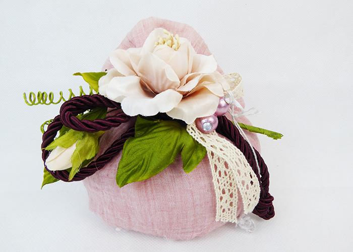 Bomboniera Sacchetto Cotone Rosa Pick Fiore Con Foglie Wedding