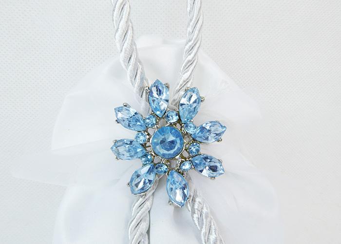 Bomboniera Sacchetto Raso Con Spilla Fiore Metallo Gemma Blu Wedding