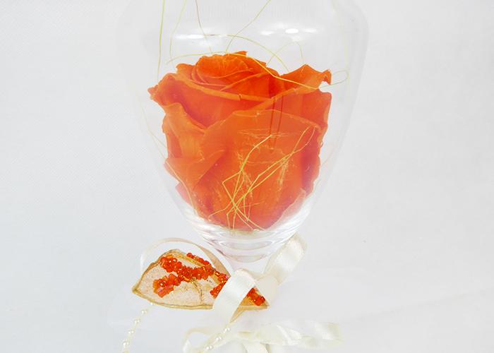 Bomboniera Belle Bicchiere Vetro Alto Con Rosa Stabilizzata Colorata