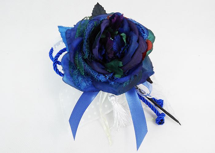 Bomboniera Tulle Bianco Pois E Pick Fiore Blu Grande Event Wedding