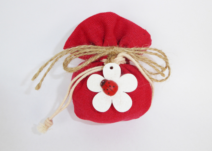 Bomboniera Sacchetto Rosso C/fiore E Coccinella Cresima Laurea