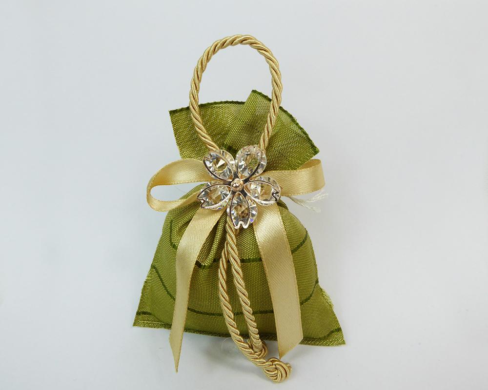 Bomboniera Sacchetto 10 Cm Verde Fiore Metallo E Diamanti Wedding