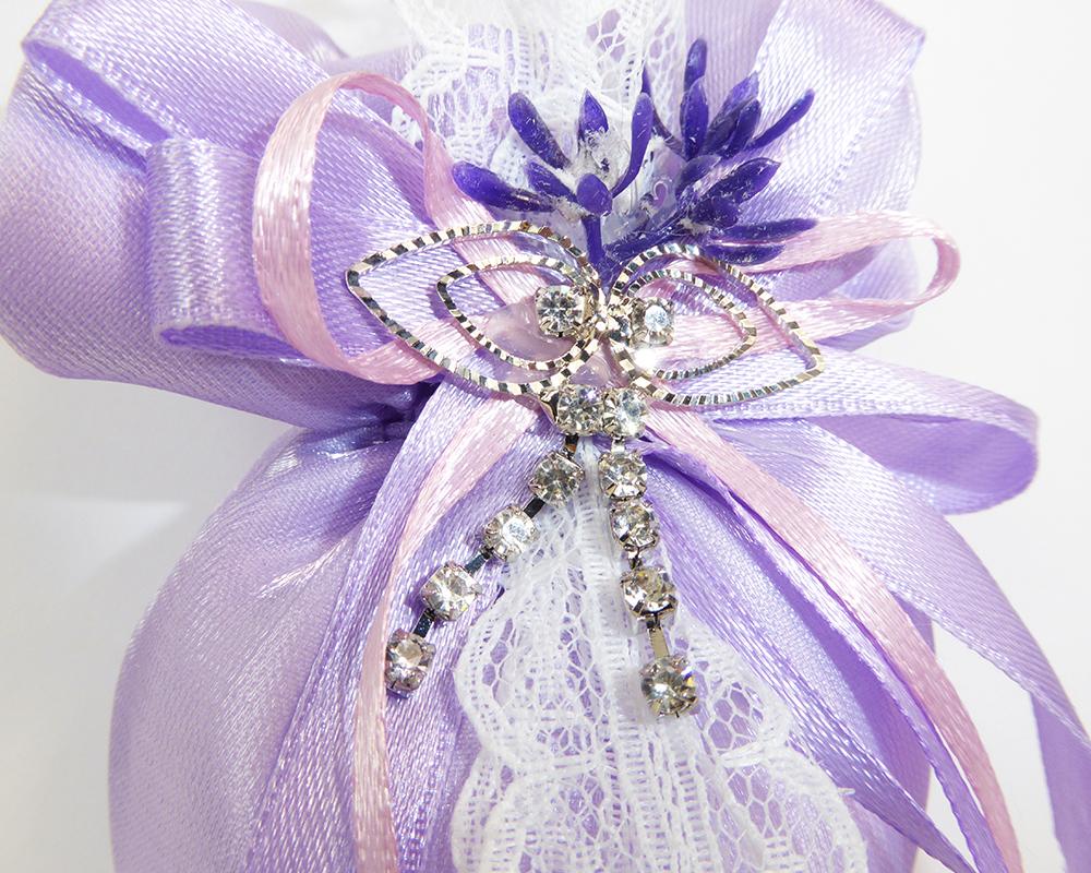 Bomboniera Sacchetto A Cuore Lilla Applicazione Strass Lavanda Wedding