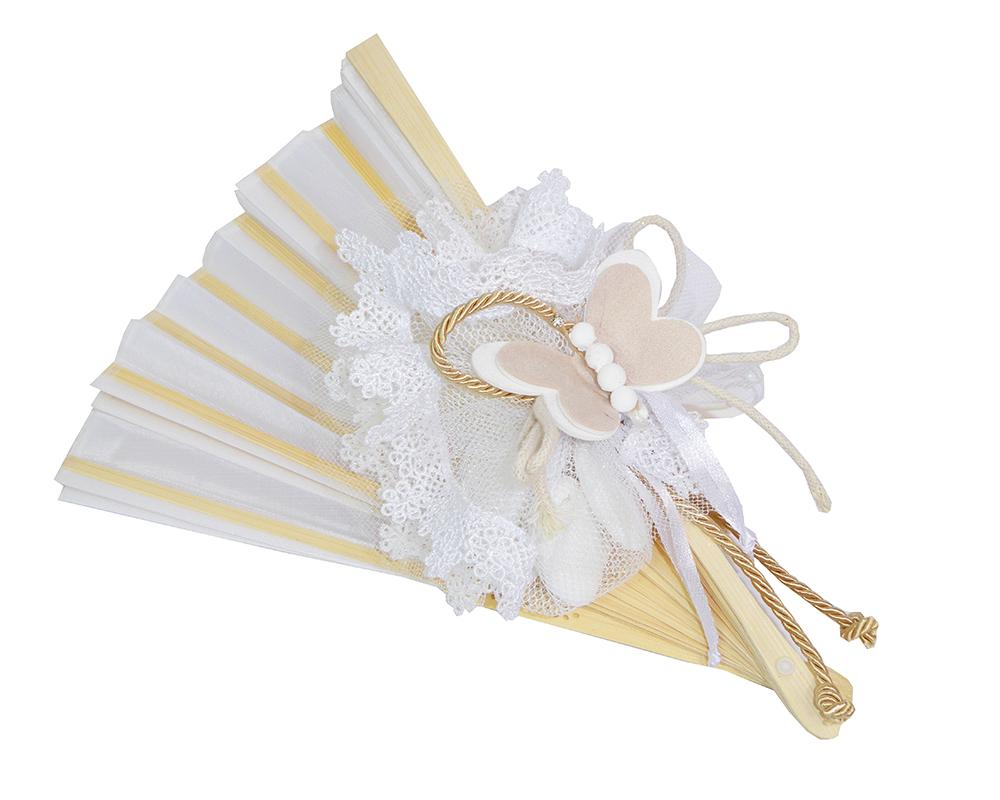 Bomboniera Ventaglio 21 Cm Tulle Glitterato E Farfalla Matrimonio Wedding