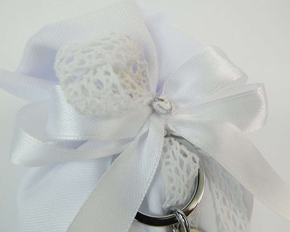 Bomboniera Sacchetto Raso Bianco C/portachiave Mappamondo Metallo