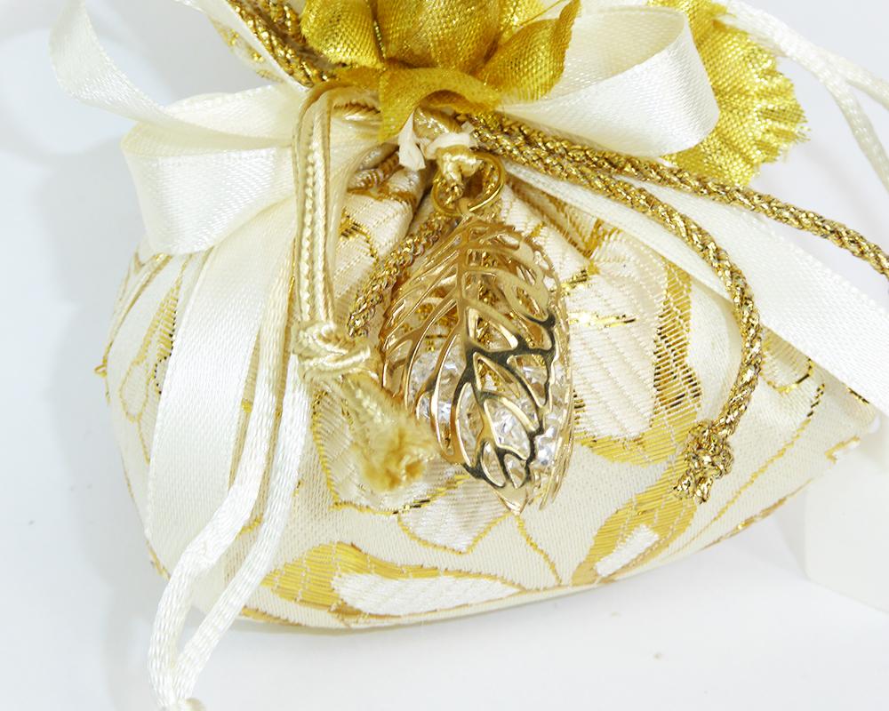 Bomboniera Sacchetto 8cm Fantasia Fiore Oro E Foglia 3D Nozze