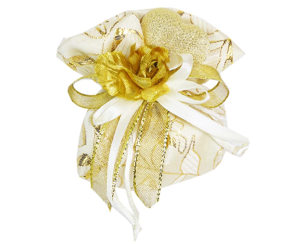 Bomboniera Sacchetto 9 Cm Damascato Oro Fiore/cuore Stoffa Nozze