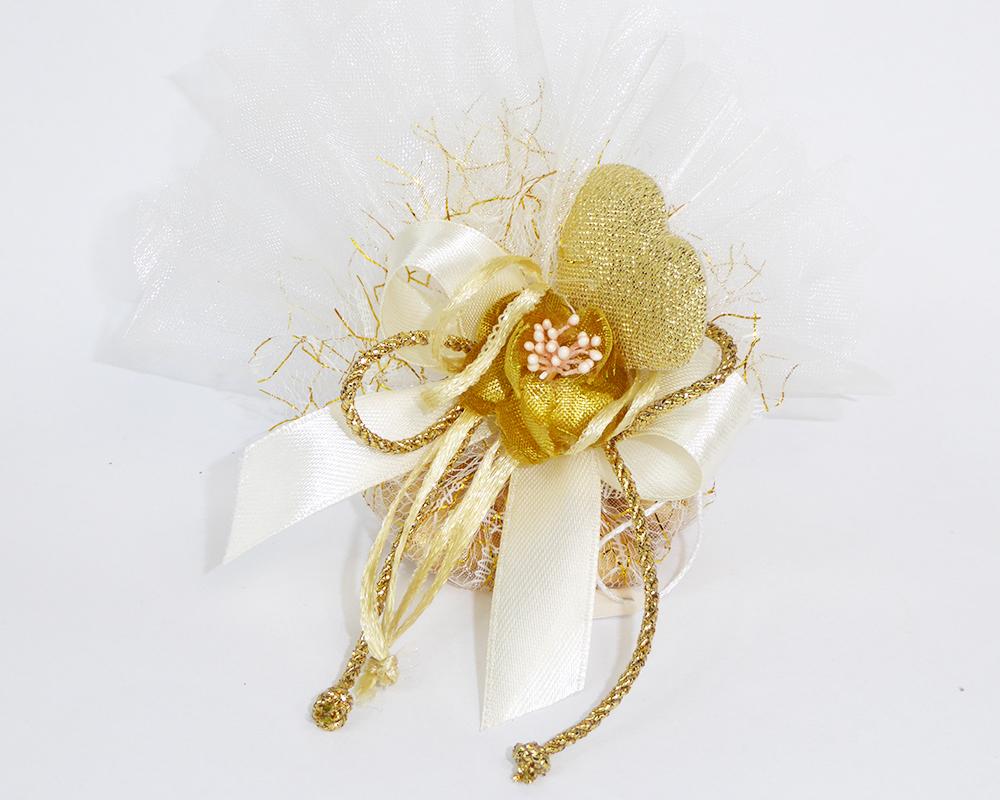 Bomboniera Rete/Tulle Organza Filo Oro Fiore/cuore Nozze Anniversari
