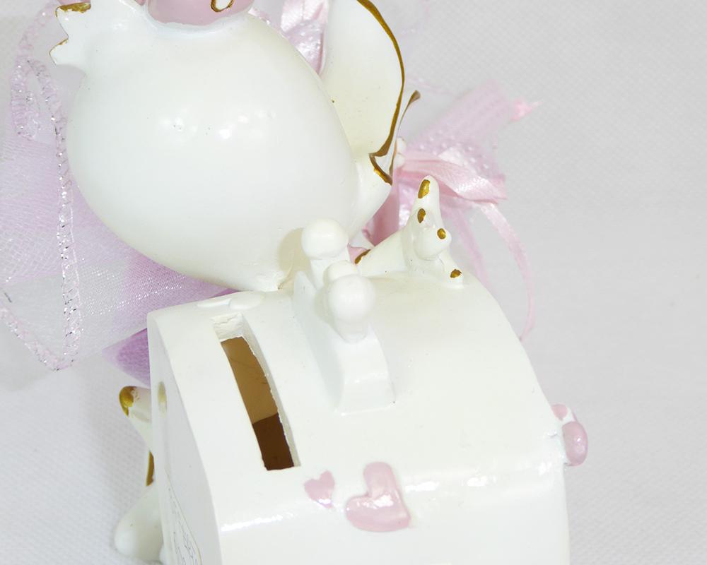 Bomboniera Salvadanaio Paperina C/tulle Rosa Battesimo Nascite