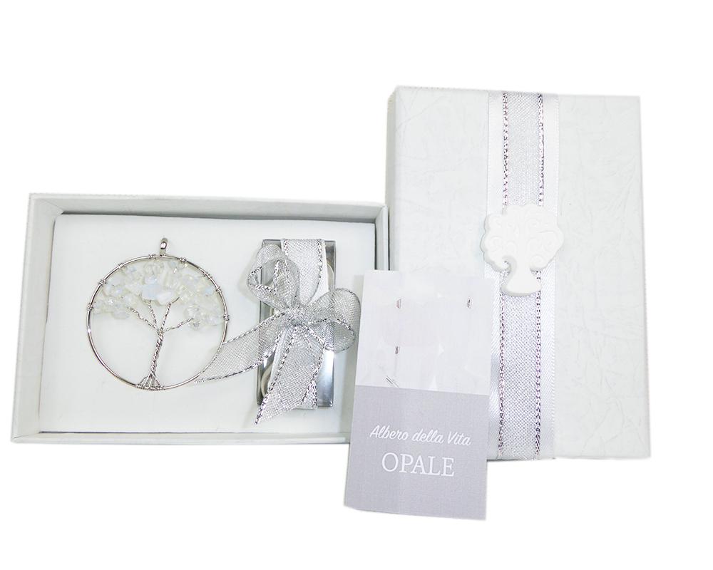 Bomboniera Albero Della Vita Opale C/scatola Nozze Argento