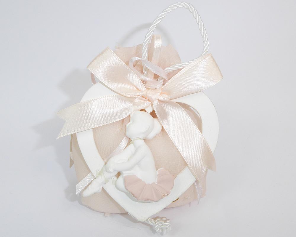 Bomboniera Sacchetto Piccolo Rosa App. Cuore Gesso/legno Ballerina