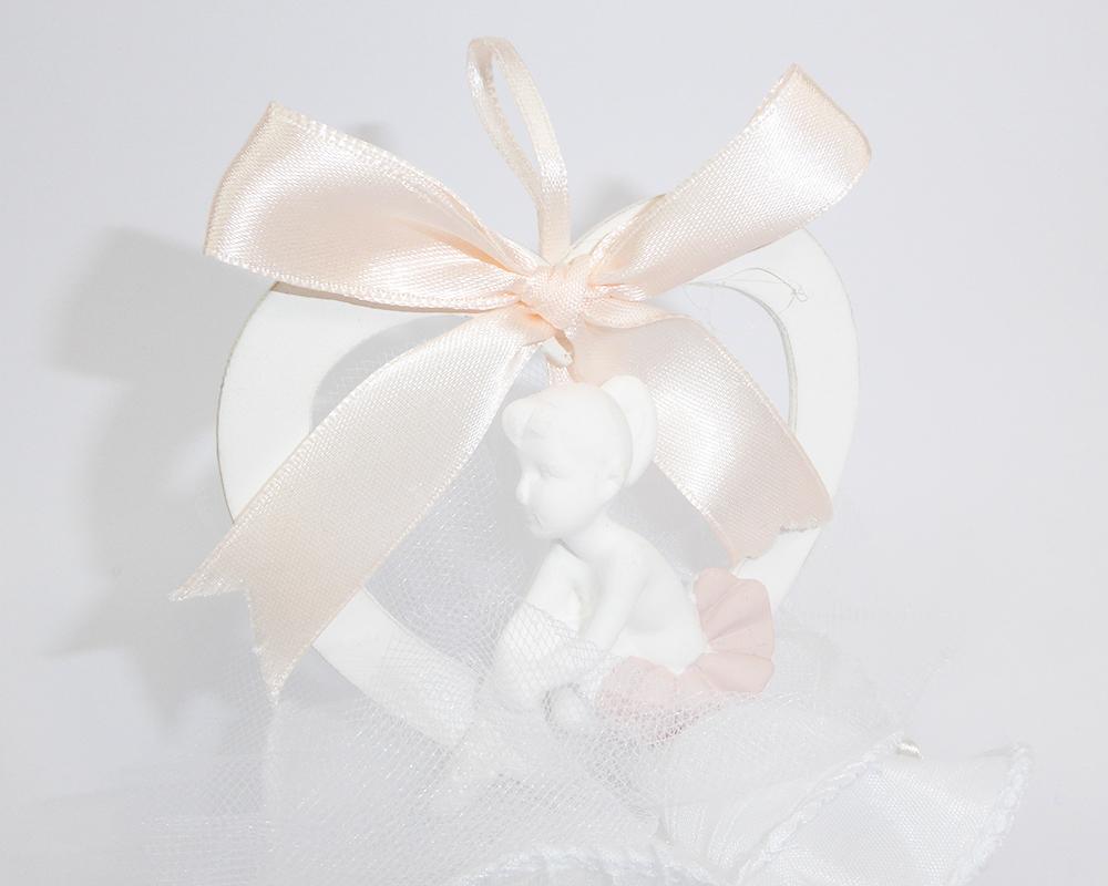 Bomboniera Applicazione Cuore Ballerina Tulle Bianco Battesimo Cresima