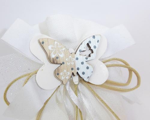 Bomboniera Sacchetto Cotone Bianco Applicazione Farfalla Legno Wedding