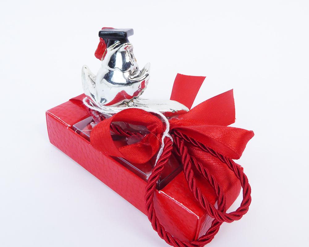 Bomboniere Laurea Completa Scatolina Rossa Con Gufo Resina Argentata