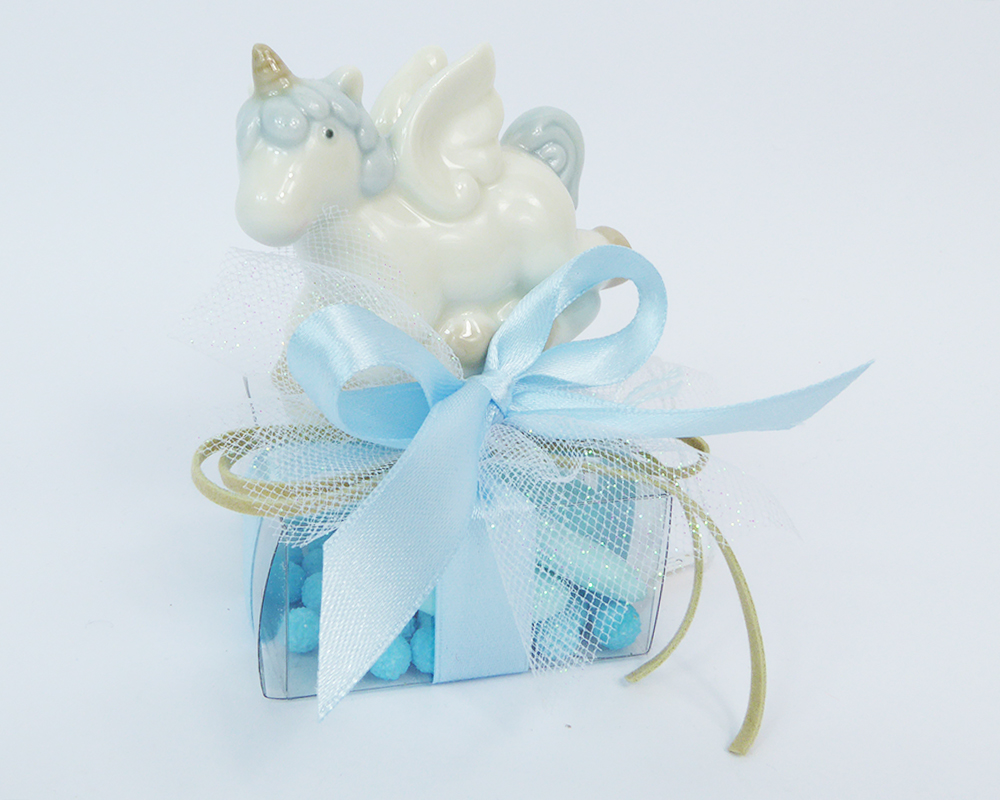 Bomboniere Battesimo Nascita Unicorno E Scatolina PVC Celeste