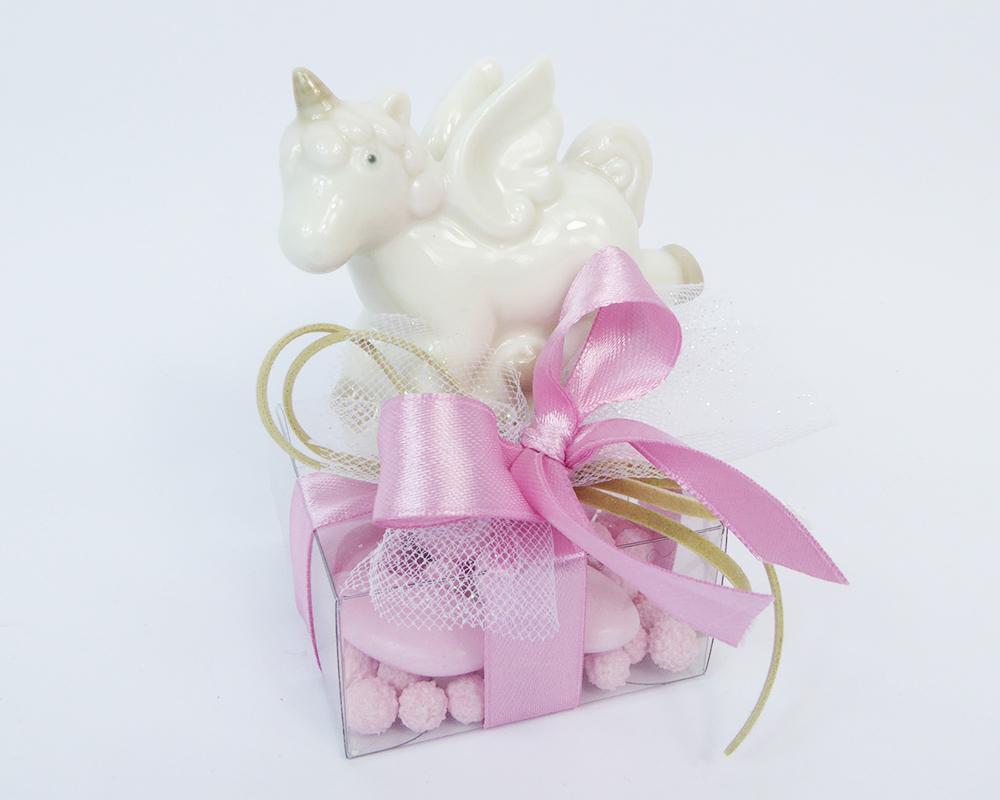Bomboniere Battesimo Nascita Unicorno E Scatolina PVC Rosa