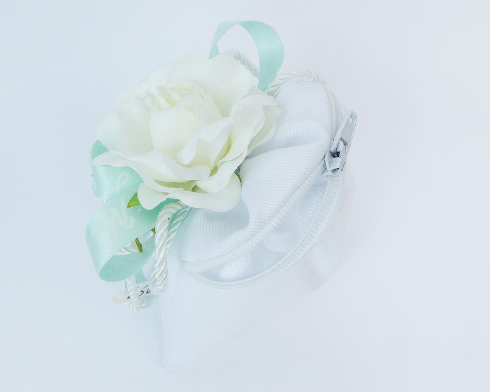 Bomboniere Matrimonio Sacchetto Zip Bianco Ciondolo Cuore E Fiore