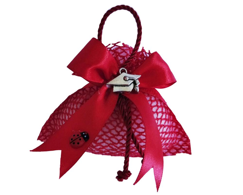 Bomboniere Laurea Sacchetto Rete Rosso Ciondolo Tocco Metallo 10 Cm