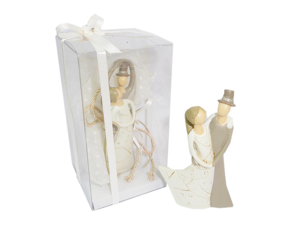 Bomboniera Completa Matrimonio Statuina Sposi Scatola E Tulle 8x8x15 Cm