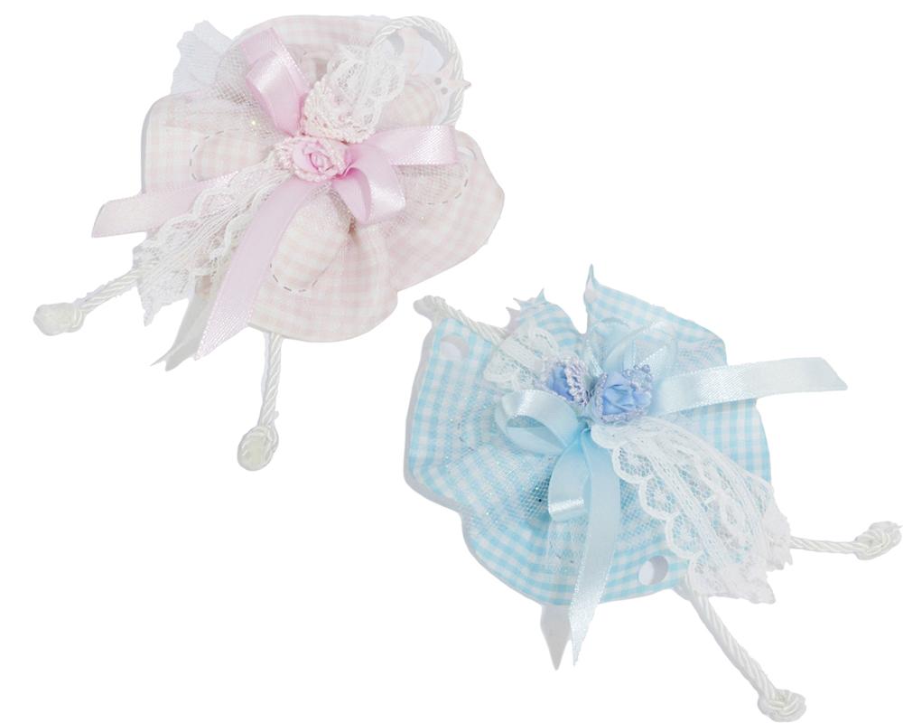 Bomboniere Battesimo Nascita Sacchetto Farfalla Rosa O Celeste 10 Cm