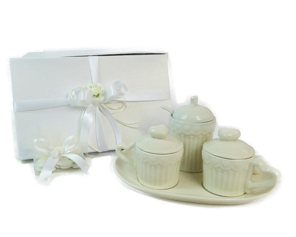Bomboniera Set 2 Tazze Zuccheriera Piatto Cuore Ceramica Con Scatola