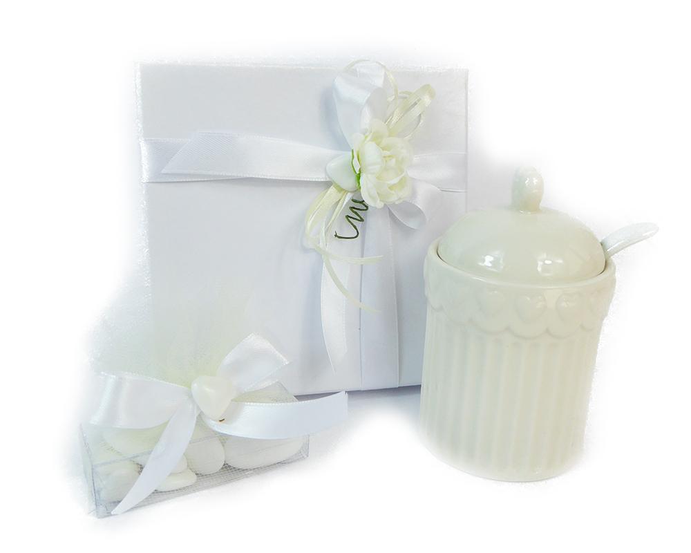 Bomboniera Zuccheriera Cuore Porcellana Cm 10,5 Portaconfetti E Scatola