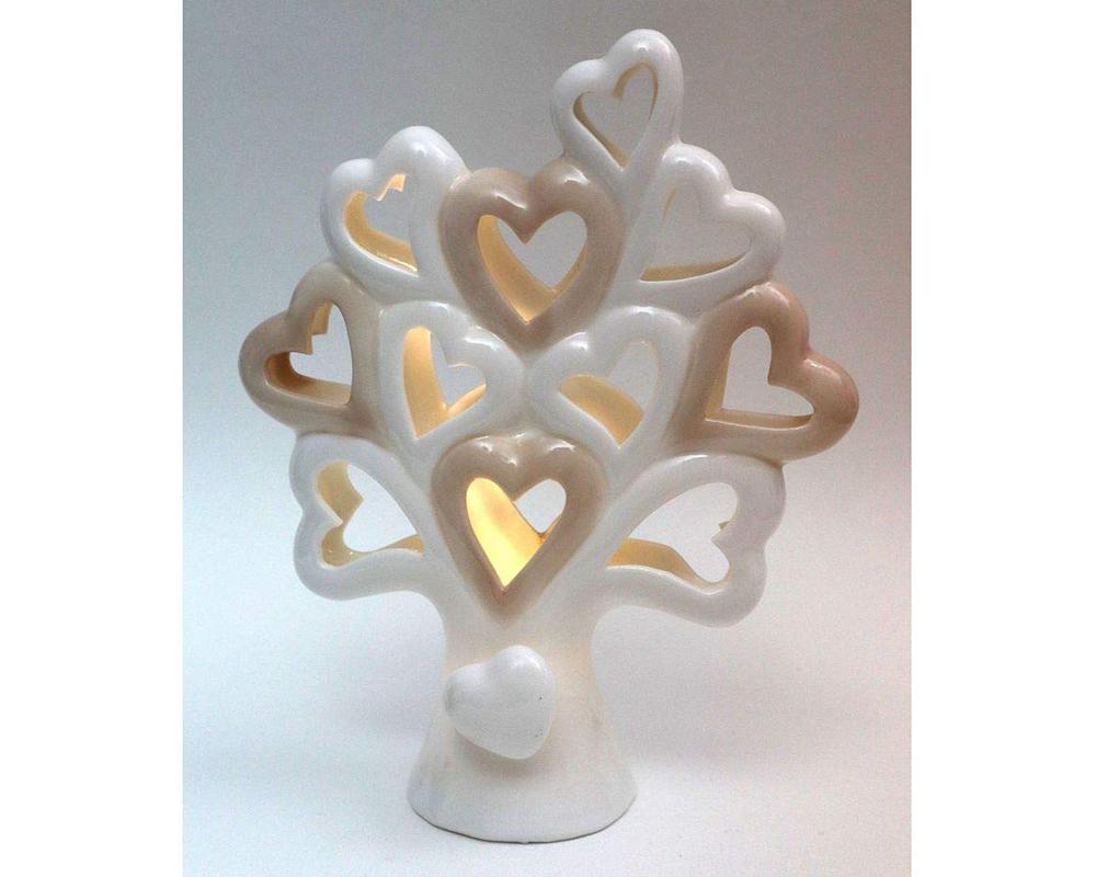 Bomboniera Albero Della Vita 17 Cm In Ceramica Con Luce Led E Scatola